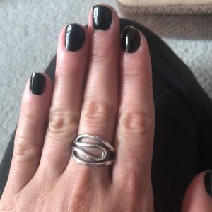 Swirl Design Silvertone Ring